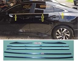 For Honda Civic 2016-2020 Chrome Weather Strips Window Frame 06 pcs