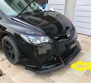 Bumper Splitter For Honda Civic Mugen RR Bumper (Plastic) - 3PCS BLACK