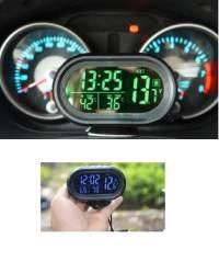 Car Digital Clock LED Lighted Temperature Gauge Voltmeter 3 in 1