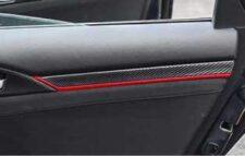 Honda Civic 2017-2021 Door Panel Carbon Fibre/ Red Trim Set